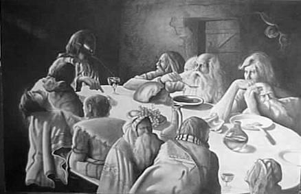 Christian fine art drawing - experience the wonder of pencil in The Last Supper in Pencil, unique pencil drawing technique presents the Last Supper as a Renaissance painting.